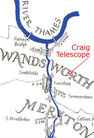 Map of the River Wandle near the time of the telescope